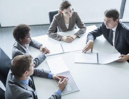 אנשים במהלך פגישה לייעוץ כלכלי וארגוני